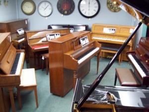 Used upright piano showroom